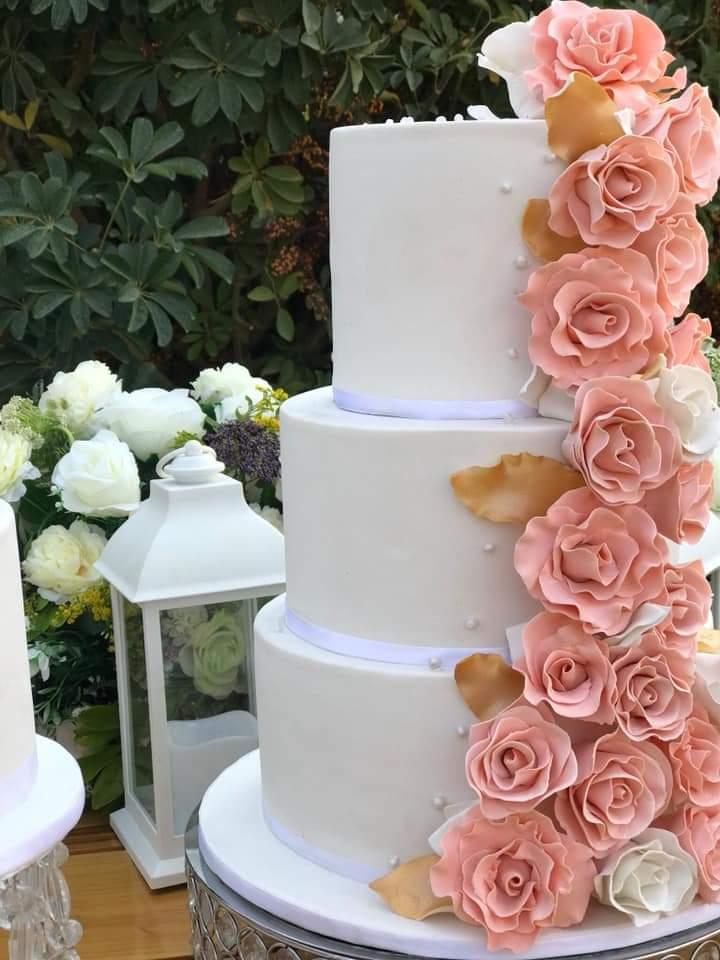Peach and white theme cake