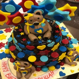 blue teddy bear cake